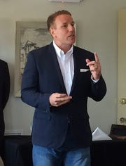 State Rep. Pat Fallon (R-Prosper) speaks to a group of local title agents, reiterating his commitment to the Wichita Falls area should he be elected to represent State Senate District 30. Fallon spoke Wednesday at the Fox Hill restaurant in Wichita Falls.