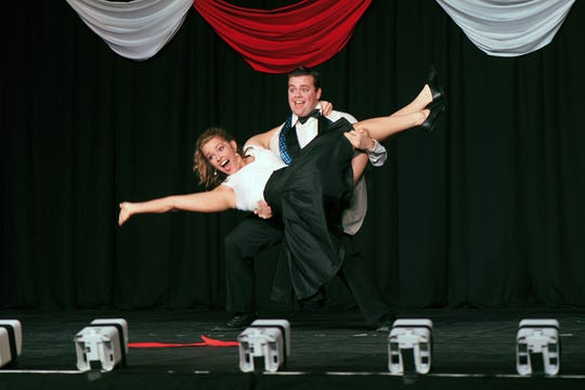 Brenna Donnelly and Luke Draper compete in the 2017 Dancing for the Stars event that raises money for Big Brothers Big Sisters and America's Small Business Development Center at Midwestern State University.