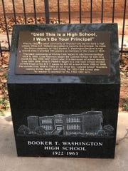 A memorial noting the history of African-American education in Wichita Falls and Booker T. Washington High School.