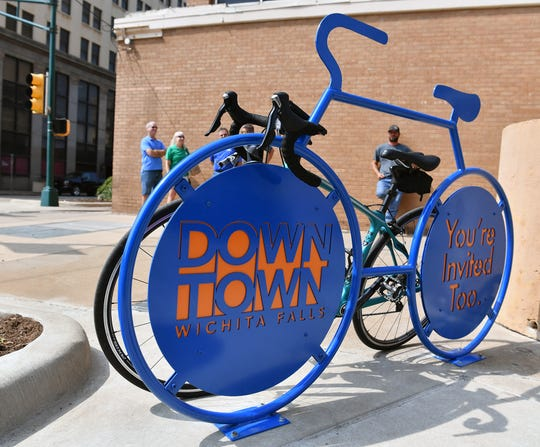 A new bicycle rack has been installed downtown at the corner of 8th Street and Scott Avenue. The design was created in steel by The Burn Shop and three others are in the process of being built.