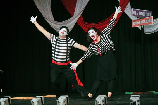 Nick Schreiber and Hannah Smith perform a French mime routine during Dancing for the Stars 2017.