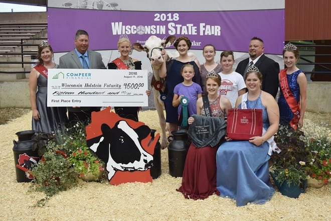 Dorsland Twinkle P-Red-ET, owned by Emma, Sara, Wyatt and Claire Dorshorst and shown by Emma Dorshorst of Marshfield took first place in the Wisconsin Holstein Futurity Show on Aug. 11.  The Dorshorst family received $1,500 from sponsor, Compeer Financial. Twinkle was also first place bred and owned and first place junior.