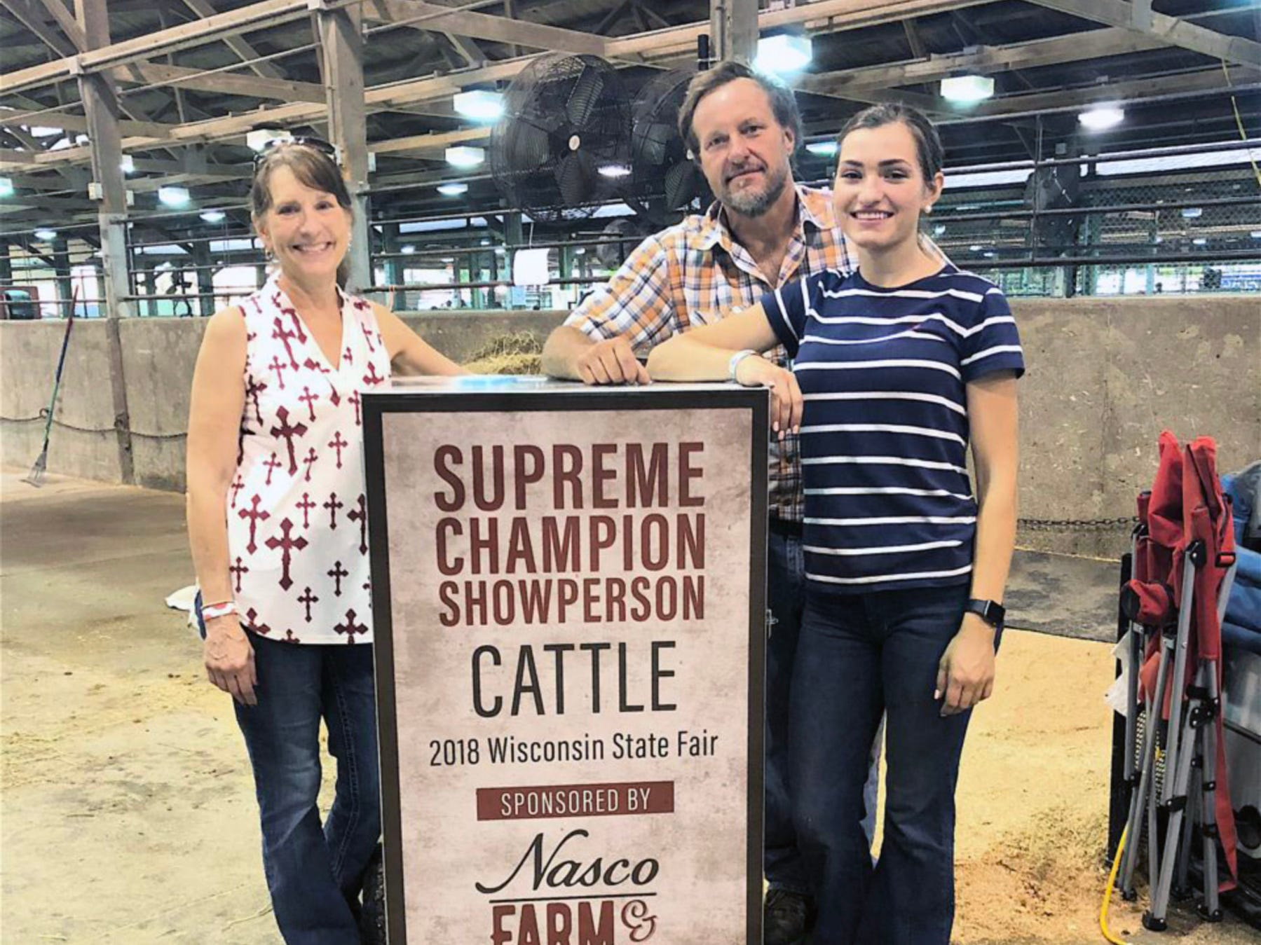 Linda, Jim and Grace Link after Grace won the master showmanship title.