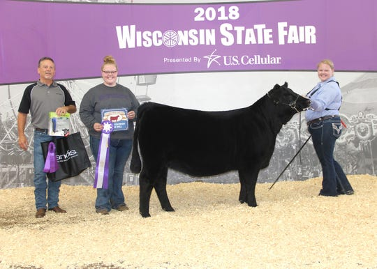 Thornberry Lace 9177 won grand champion female at the 2018 Wisconsin State Fair Angus Show, Aug. 11 in West Allis, Wis. Claire Hawthorne, Westby, Wis., owns the September 2017 daughter of PVF Insight 0129. She first claimed senior calf champion.