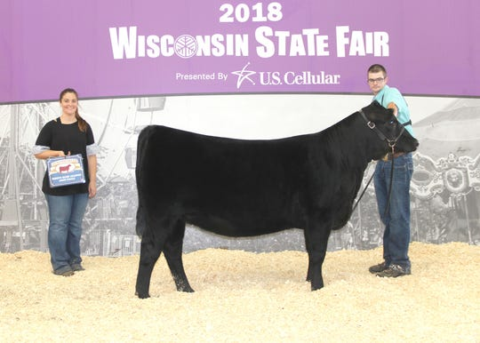 All Missie 2409 won reserve grand champion female at the 2018 Wisconsin State Fair Angus Show, Aug. 11 in West Allis, Wis. Evan Henning, Janesville, Wis., owns the June 2017 daughter of Silveiras Style 9303. She first claimed intermediate champion.