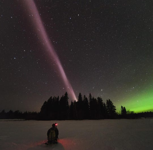 An image of STEVE, which stands for Strong Thermal Emission Velocity Enhancement, is captured in April in Prince George, British Columbia, Canada.