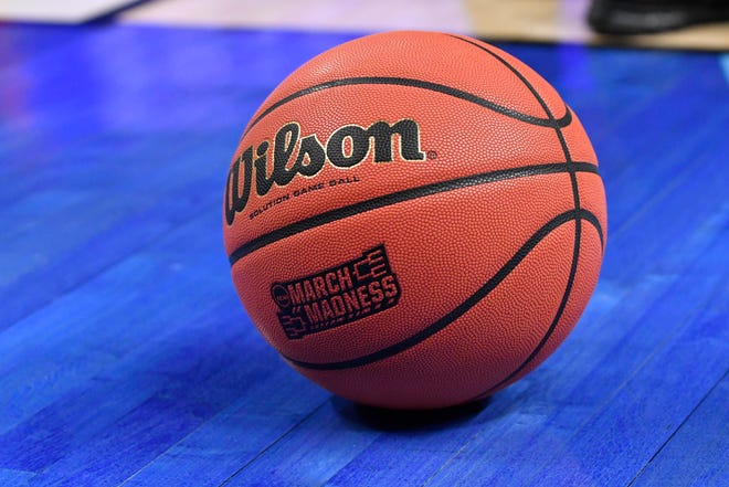 An official game ball is seen before the NCAA tournament in 2017.