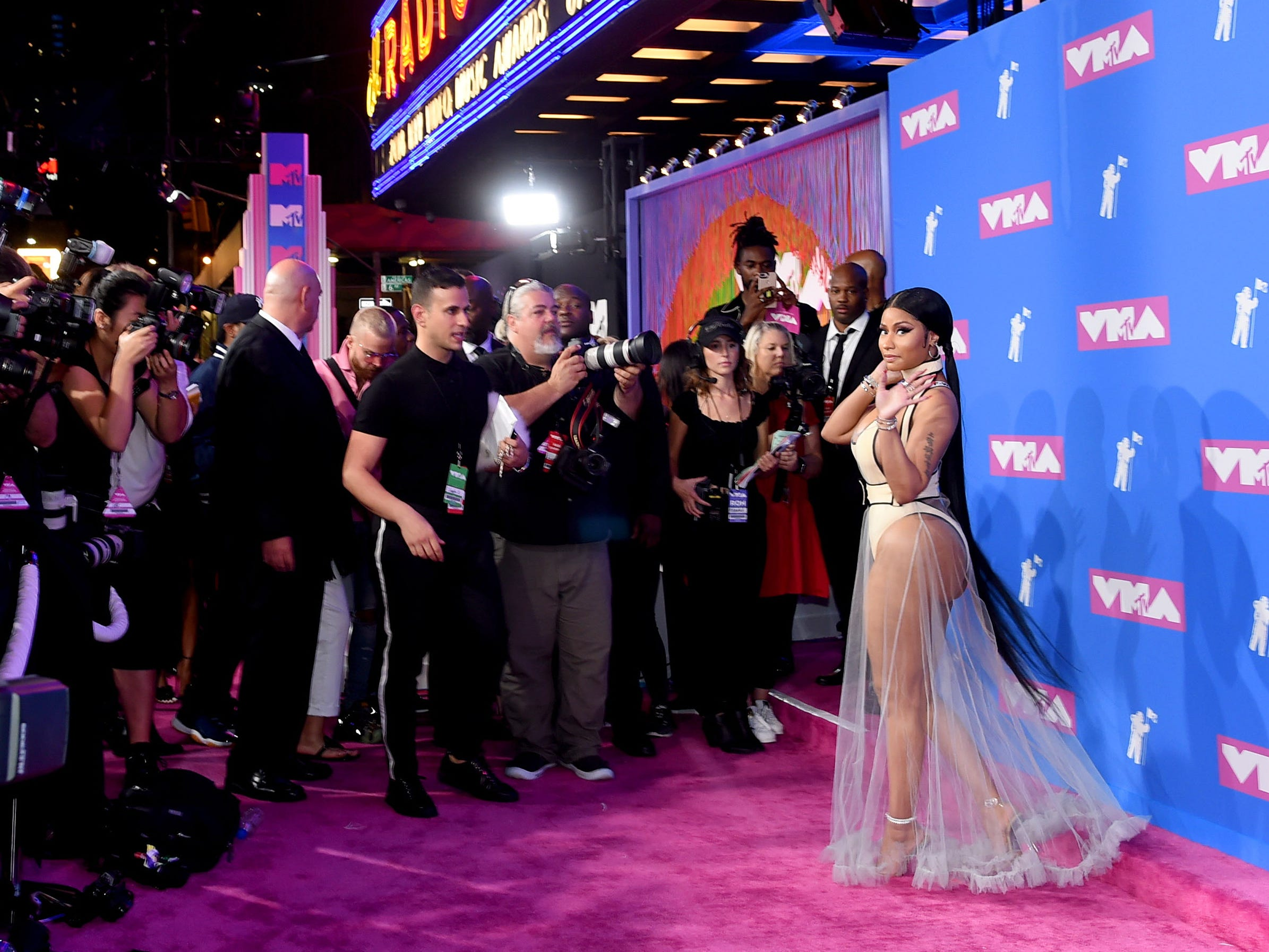 NEW YORK, NY - AUGUST 20: Nicki Minaj attends the 2018 MTV Video Music Awards at Radio City Music Hall on August 20, 2018 in New York City.  (Photo by Jamie McCarthy/Getty Images) ORG XMIT: 775210277 ORIG FILE ID: 1020303548