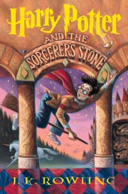 "The original jacket of ""Harry Potter and the Sorcerer's Stone"" by J.K. Rowling, published in the U.S. 20 years ago."