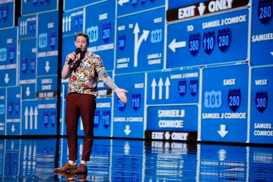 'America's Got Talent' comedian Samuel J. Comroe earned judge Howie Mandel's praise for keeping his focus Tuesday despite an apparent glitch with stage video screens.