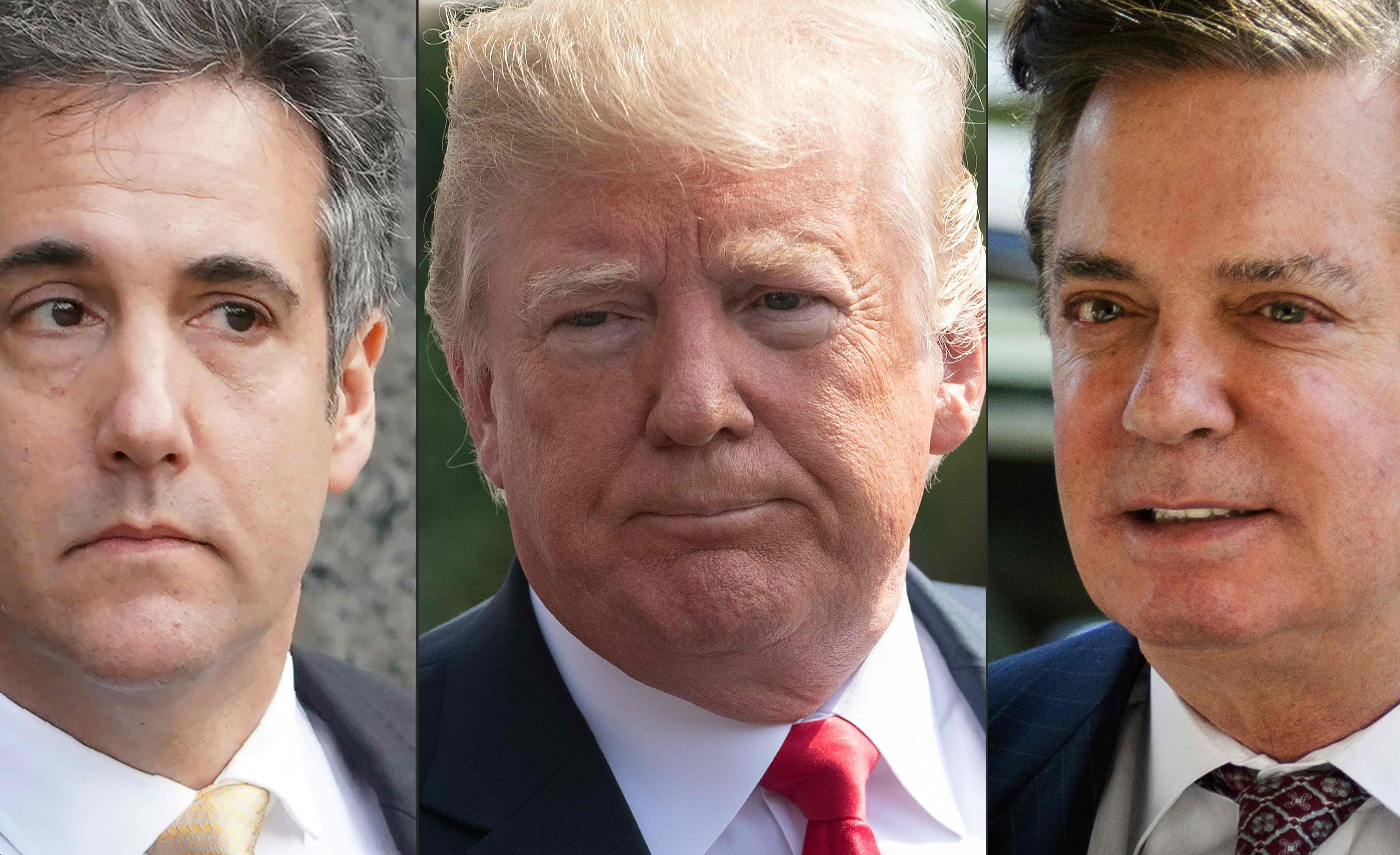 Former Trump lawyer Michael Cohen, President Donald Trump, and former Trump campaign Manager Paul Manafort.