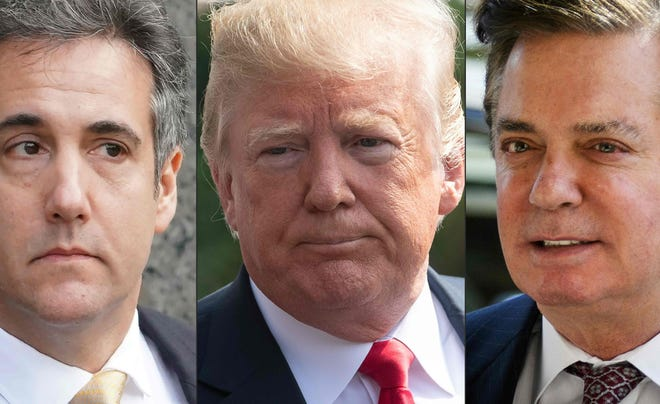 Former Trump lawyer Michael Cohen, President Donald Trump and former Trump campaign manager Paul Manafort.