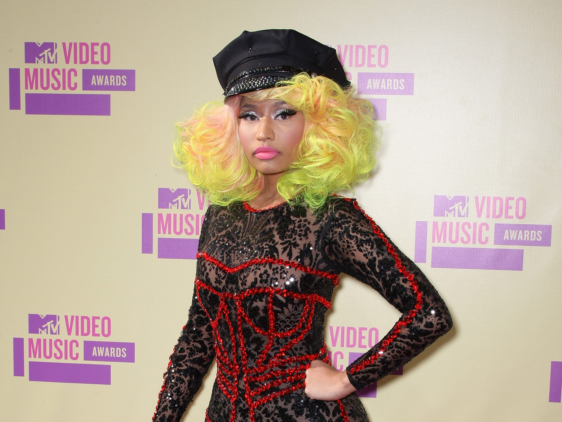 LOS ANGELES, CA - SEPTEMBER 06:  Rapper/singer Nicki Minaj arrives at the 2012 MTV Video Music Awards at Staples Center on September 6, 2012 in Los Angeles, California.  (Photo by Frederick M. Brown/Getty Images) ORG XMIT: 149866652 ORIG FILE ID: 151405375
