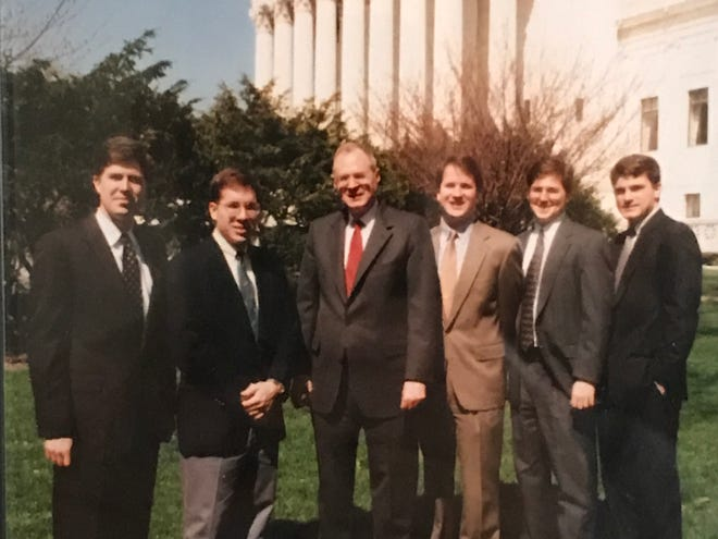 Associate Justice Anthony Kennedy's law clerks in the 1993 Supreme Court term included one, and possibly two, future high court justices. From left to right: Neil Gorsuch, Nathan Forrester, Justice Kennedy, Brett Kavanaugh, Miles Ehrlich and Gary Feinerman.