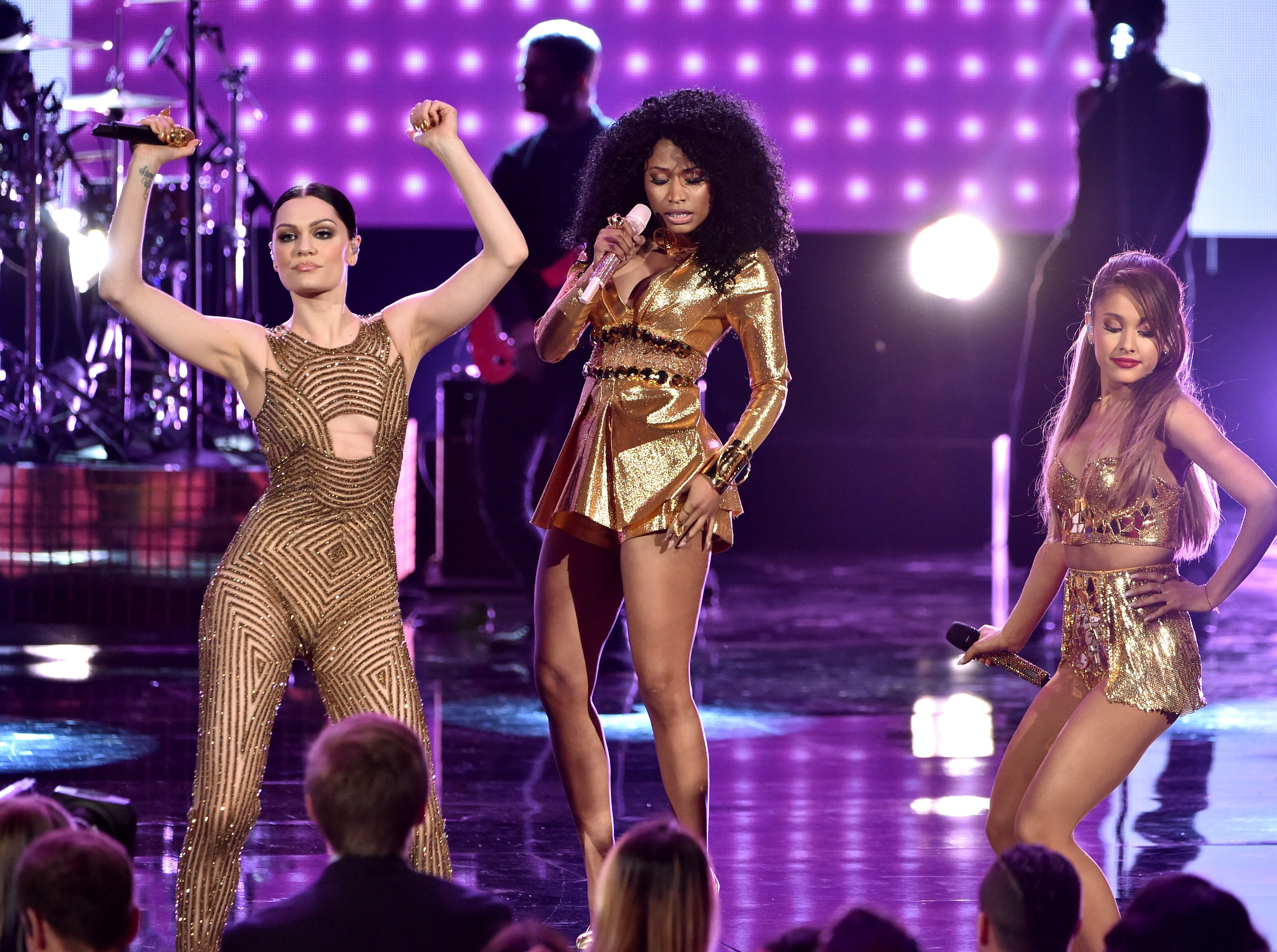 LOS ANGELES, CA - NOVEMBER 23:  (L-R) Recording artists Charli XCX, Nicki Minaj, and Ariana Grande perform onstage at the 2014 American Music Awards at Nokia Theatre L.A. Live on November 23, 2014 in Los Angeles, California.  (Photo by Kevin Winter/Getty Images) ORG XMIT: 522503943 ORIG FILE ID: 459489566