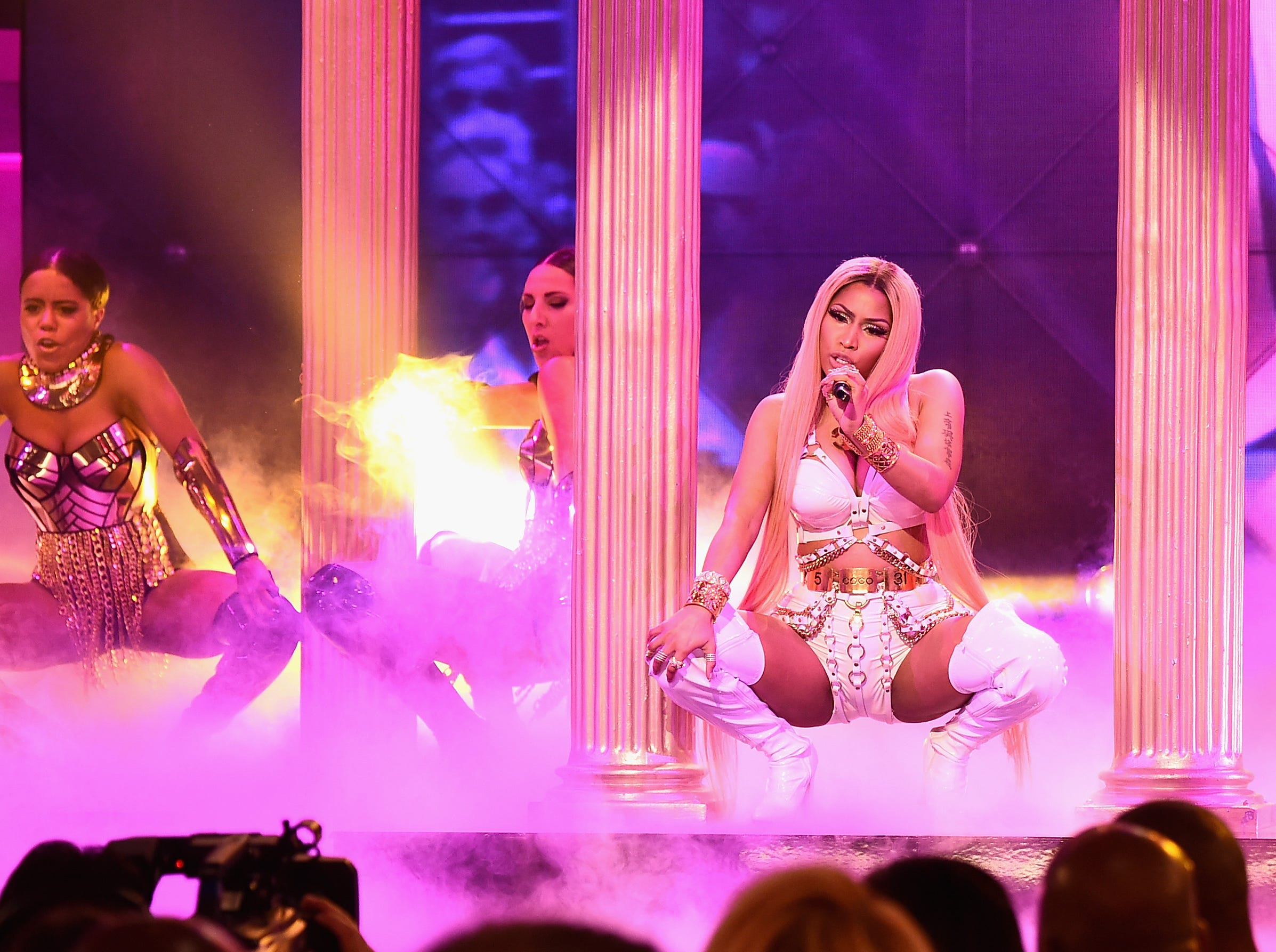 NEW YORK, NY - JUNE 26:  Nicki Minaj performs on stage during the 2017 NBA Awards Live On TNT on June 26, 2017 in New York City. 27111_001  (Photo by Michael Loccisano/Getty Images for TNT ) ORG XMIT: 700037722 ORIG FILE ID: 801526280