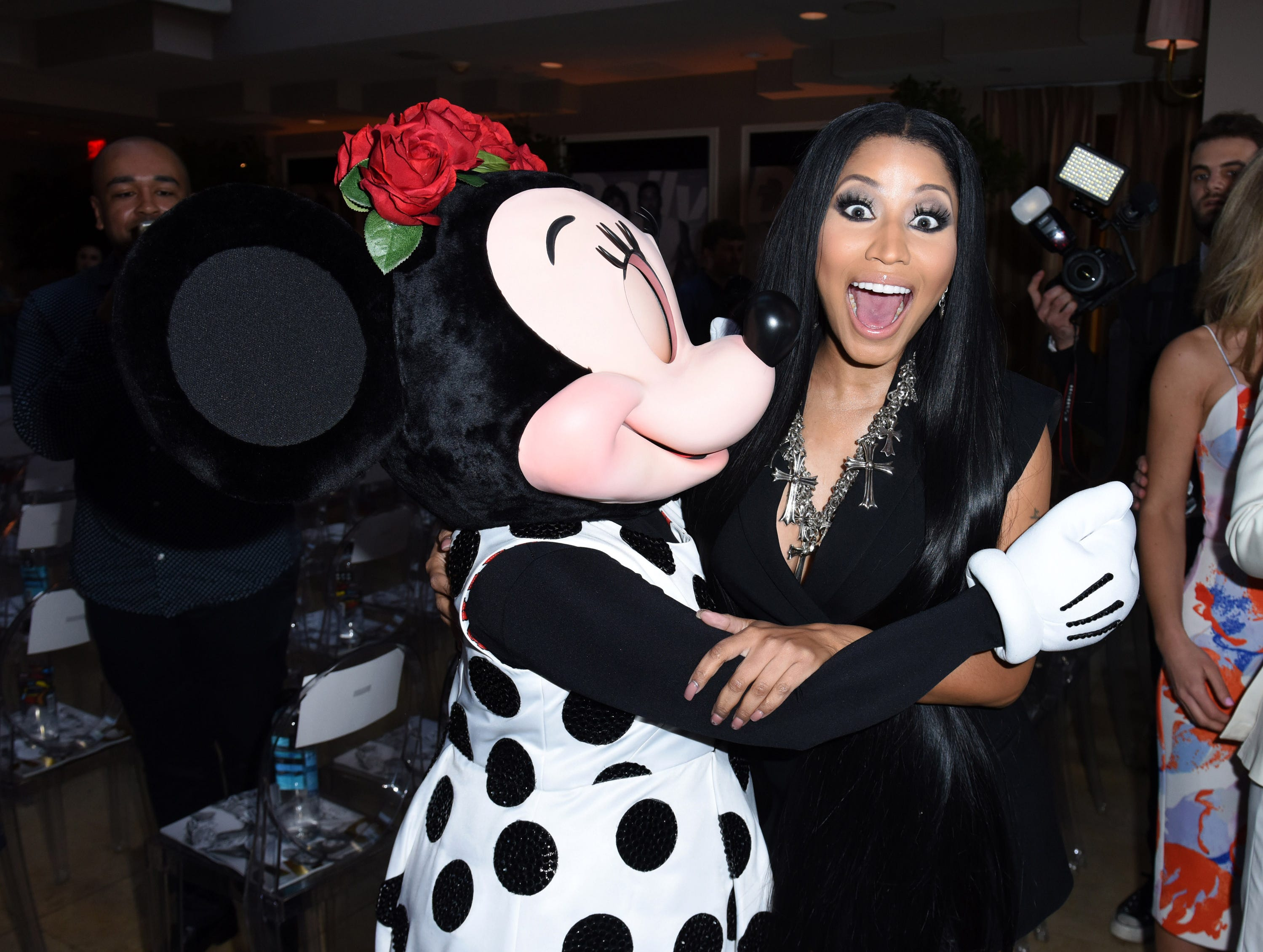 WEST HOLLYWOOD, CA - APRIL 02:  Minnie Mouse and Nicki Minaj attend Fashion LA Awards.  Minnie wears custom alice + olivia by Stacey Bendet dress at the Sunset Tower Hotel on April 2, 2017 in West Hollywood, California.  (Photo by Vivien Killilea/Getty Images for Disney Consumer Products and Interactive Media) ORG XMIT: 700025142 ORIG FILE ID: 663907804