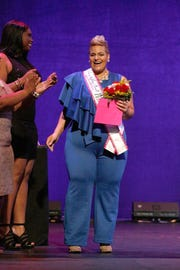 Theresa Royals is crowned Ashley Stewart at Finding Ashley Stewart 2017 at Kings Theatre on Sept. 16, 2017 in New York.