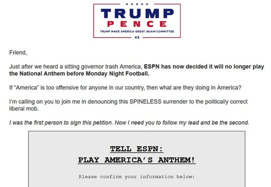 "A screenshot of an email sent to Donald Trump supporters entitled ""How is America too offensive?"""