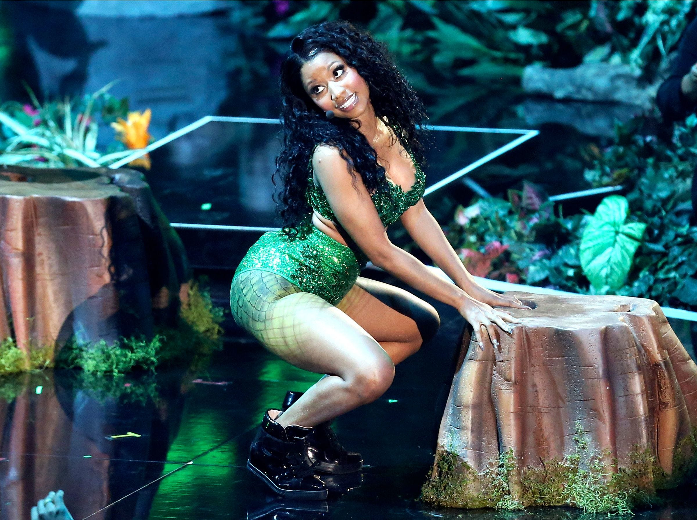 Nicki Minaj performs at the MTV Video Music Awards at The Forum on Sunday, Aug. 24, 2014, in Inglewood, Calif. (Photo by Matt Sayles/Invision/AP) ORG XMIT: CARR136