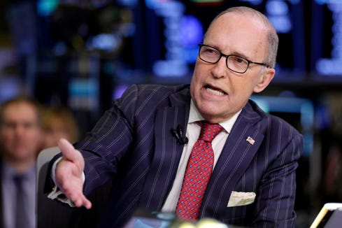 Larry Kudlow, a longtime fixture on the CNBC business news network who previously served in the Reagan administration, is interviewed on the floor of the New York Stock Exchange, March 14, 2018.