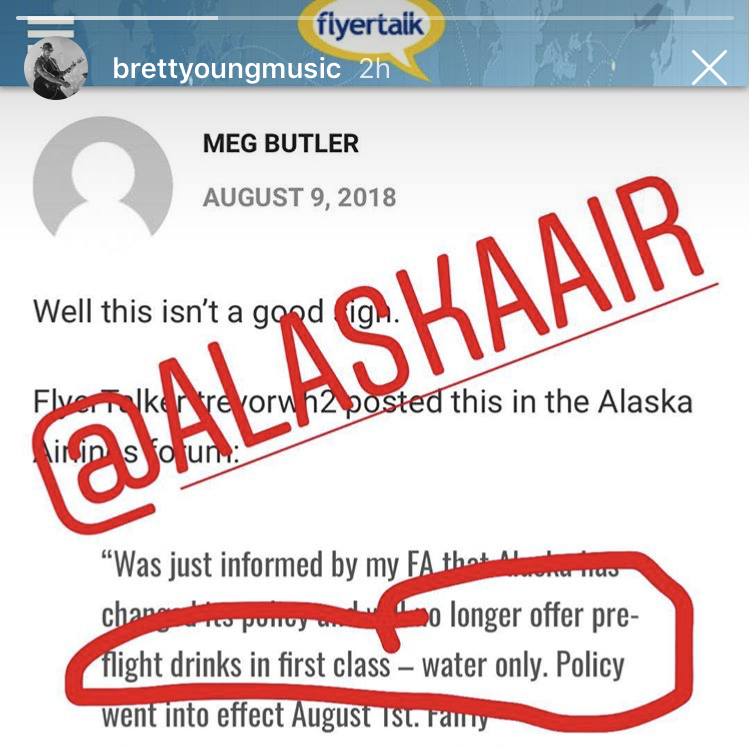 Country music singer Brett Young called out Alaska Airlines on Instagram for the airline's  new policy of no pre-flight alcoholic beverages.