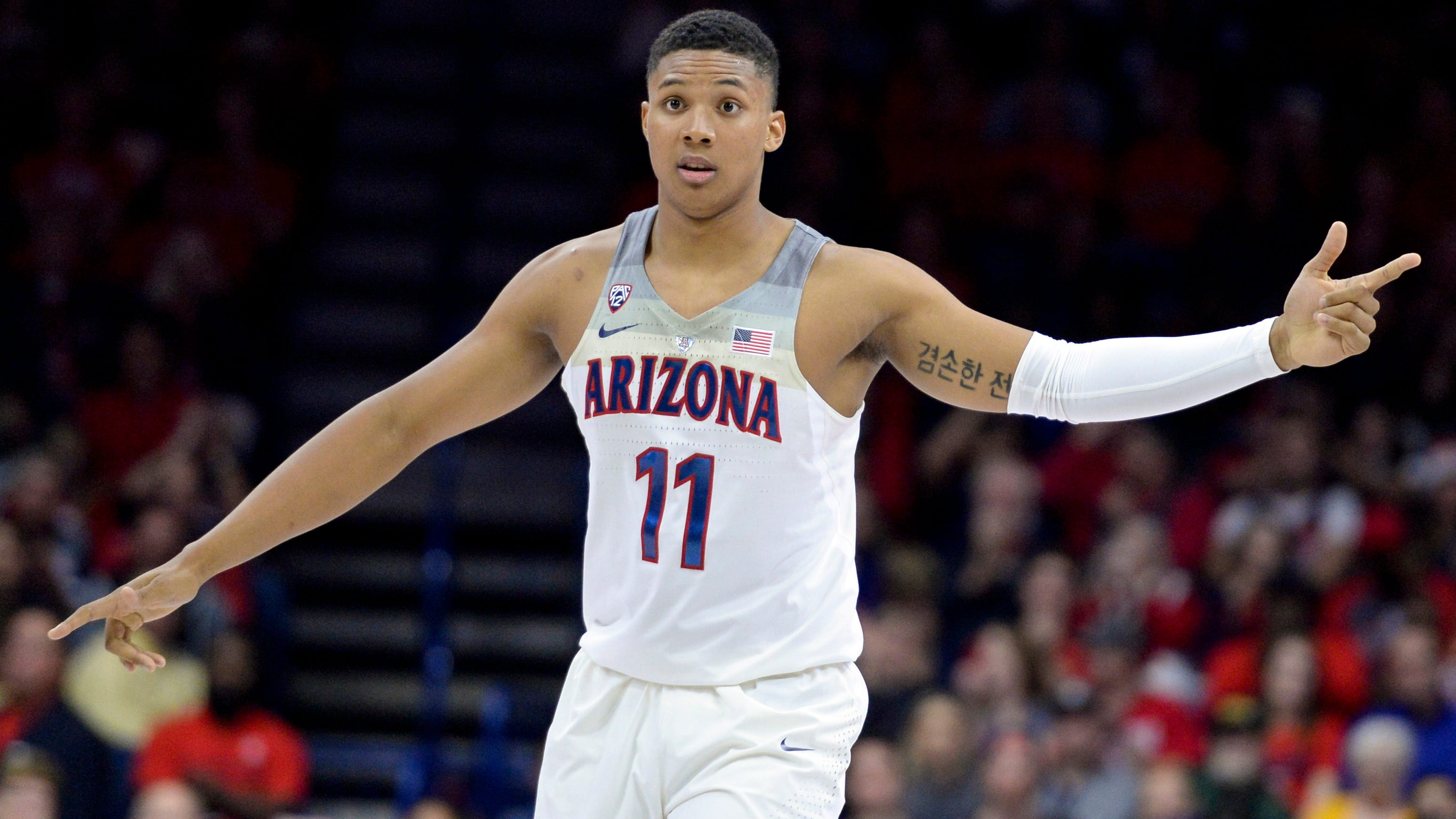 Arizona Wildcats forward Ira Lee celebrates after scoring against the North Dakota State Bison during a home game last season in Tucson.