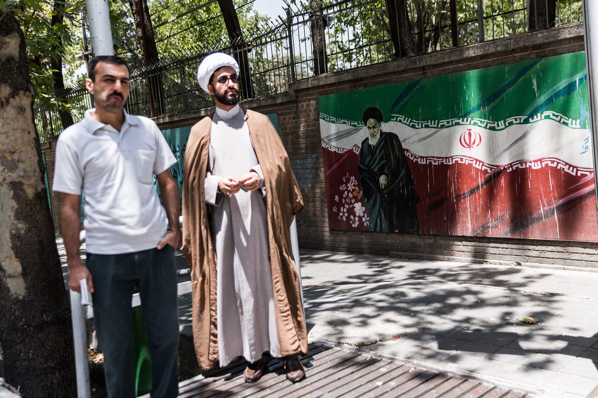 A mural depicting  Ayatollah Khomeini is seen in Tehran.