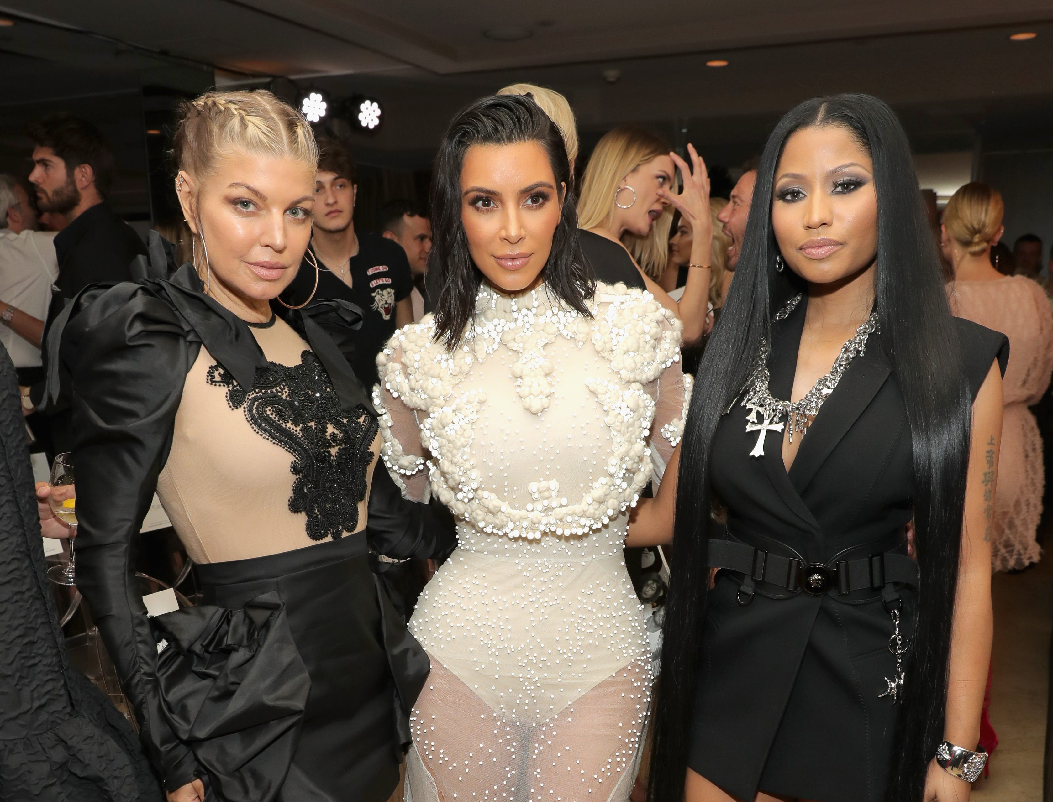 WEST HOLLYWOOD, CA - APRIL 02: (L-R) Fergie, Kim Kardashian West and Nicki Minaj attend the Daily Front Row's 3rd Annual Fashion Los Angeles Awards at Sunset Tower Hotel on April 2, 2017 in West Hollywood, California.  (Photo by Neilson Barnard/Getty Images) ORG XMIT: 700020741 ORIG FILE ID: 663911244