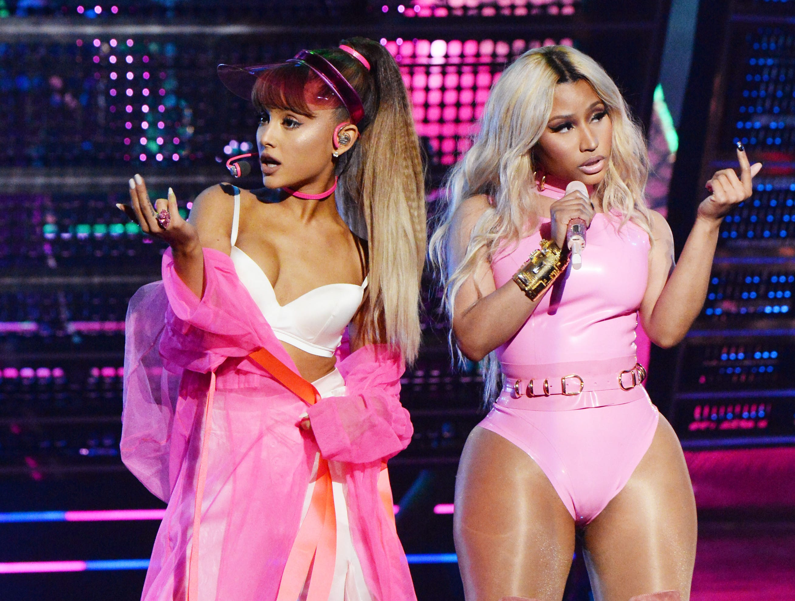 NEW YORK, NY - AUGUST 28:  Ariana Grande and Nicki Minaj perform onstage during the 2016 MTV Video Music Awards at Madison Square Garden on August 28, 2016 in New York City.  (Photo by Jeff Kravitz/FilmMagic) ORG XMIT: 661821829 ORIG FILE ID: 597570036