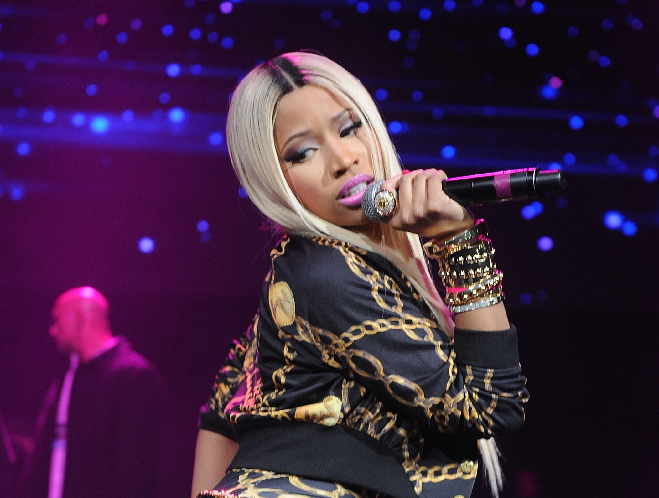 Hip-hop artist Nicki Minaj performs onstage at the Power 105.1's Powerhouse Concert at the Barclays Center, Saturday, Nov. 2, 2013, in New York's borough of Brooklyn. (Photo by Brad Barket/Invision/AP) ORG XMIT: NYBB105