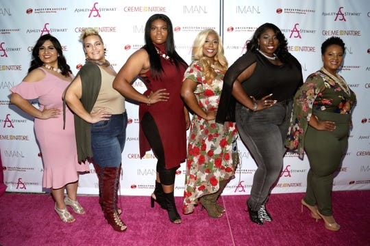 Finalists Sheila Lopez, Theresa Royals, Samaria Keichelle Roberson, Shadawn McCants, Aysha Williams, and Ashley Walker attend Finding Ashley Stewart 2017 at Kings Theatre on Sept. 16, 2017, in  New York.