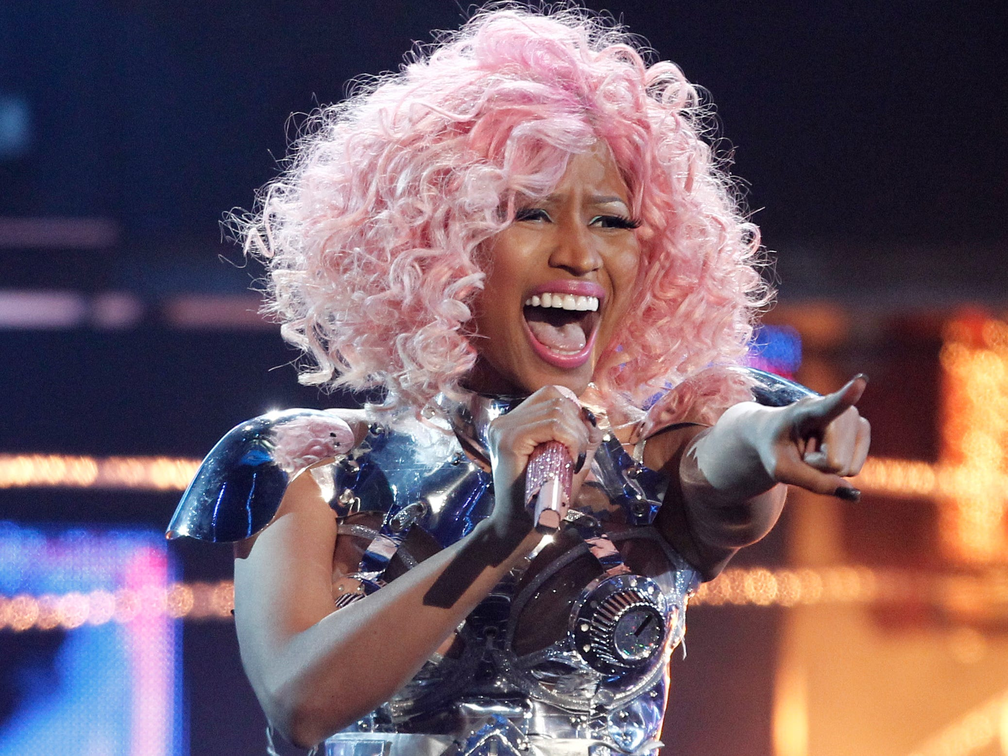 ORG XMIT: NYET563 FILE - In this Nov. 20, 2011 file photo, Nicki Minaj performs at the 39th Annual American Music Awards in Los Angeles. (AP Photo/Matt Sayles, file)