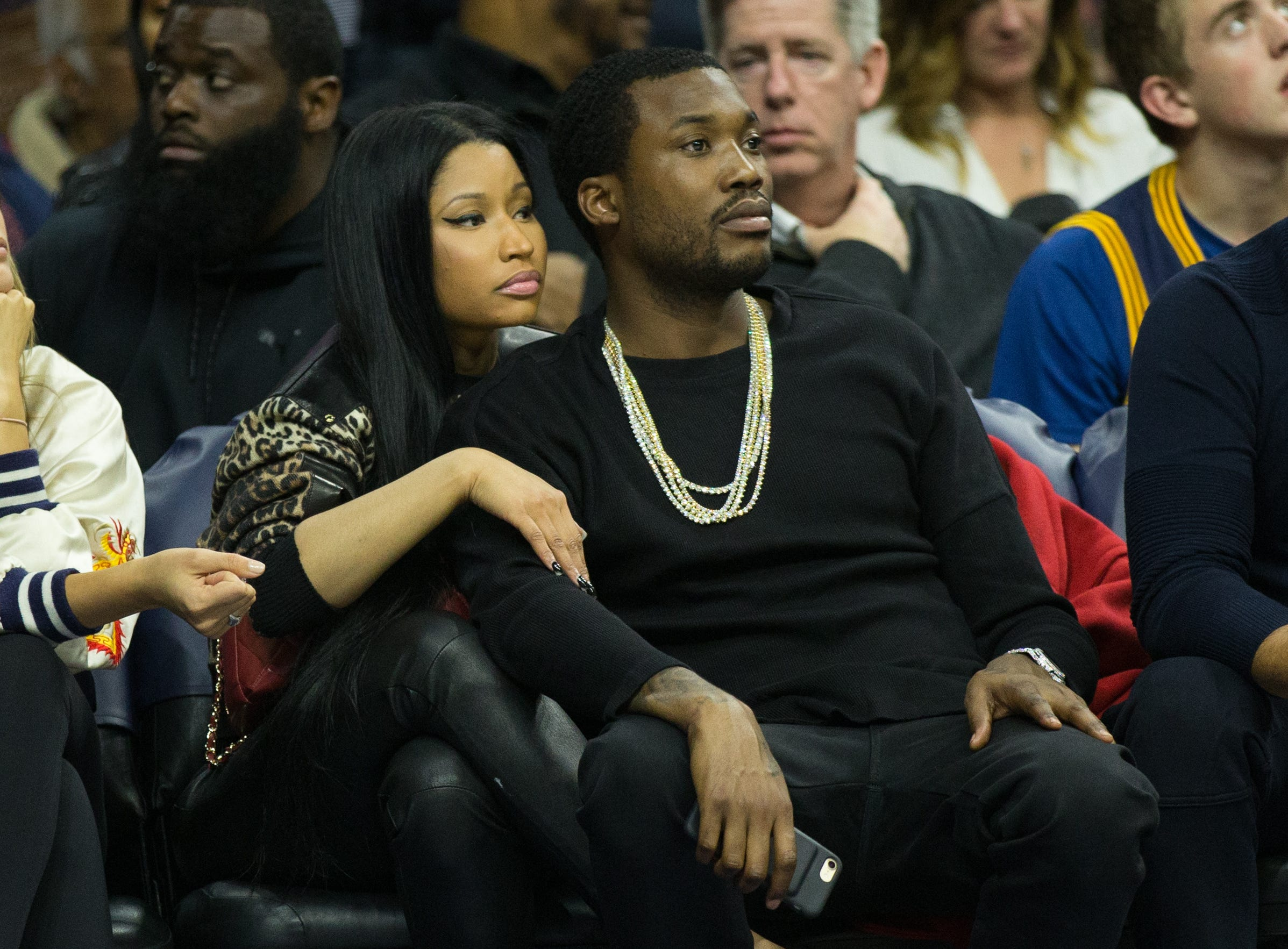 Nov 5, 2016; Philadelphia, PA, USA; Musical recording artist Nicki Minaj (L) and Meek Mill (R) during the second half of a game between the Philadelphia 76ers and the Cleveland Cavaliers at Wells Fargo Center. The Cleveland Cavaliers won 102-101. Mandatory Credit: Bill Streicher-USA TODAY Sports ORG XMIT: USATSI-323516 ORIG FILE ID:  20161105_twg_sq4_0172.jpg