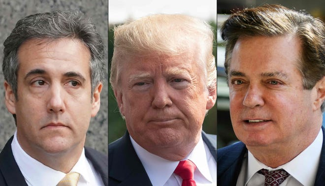 This combination of pictures shows recent images of Michael Cohen, left, former personal lawyer for President Donald Trump; Trump, center; and former Trump campaign Manager Paul Manafort.