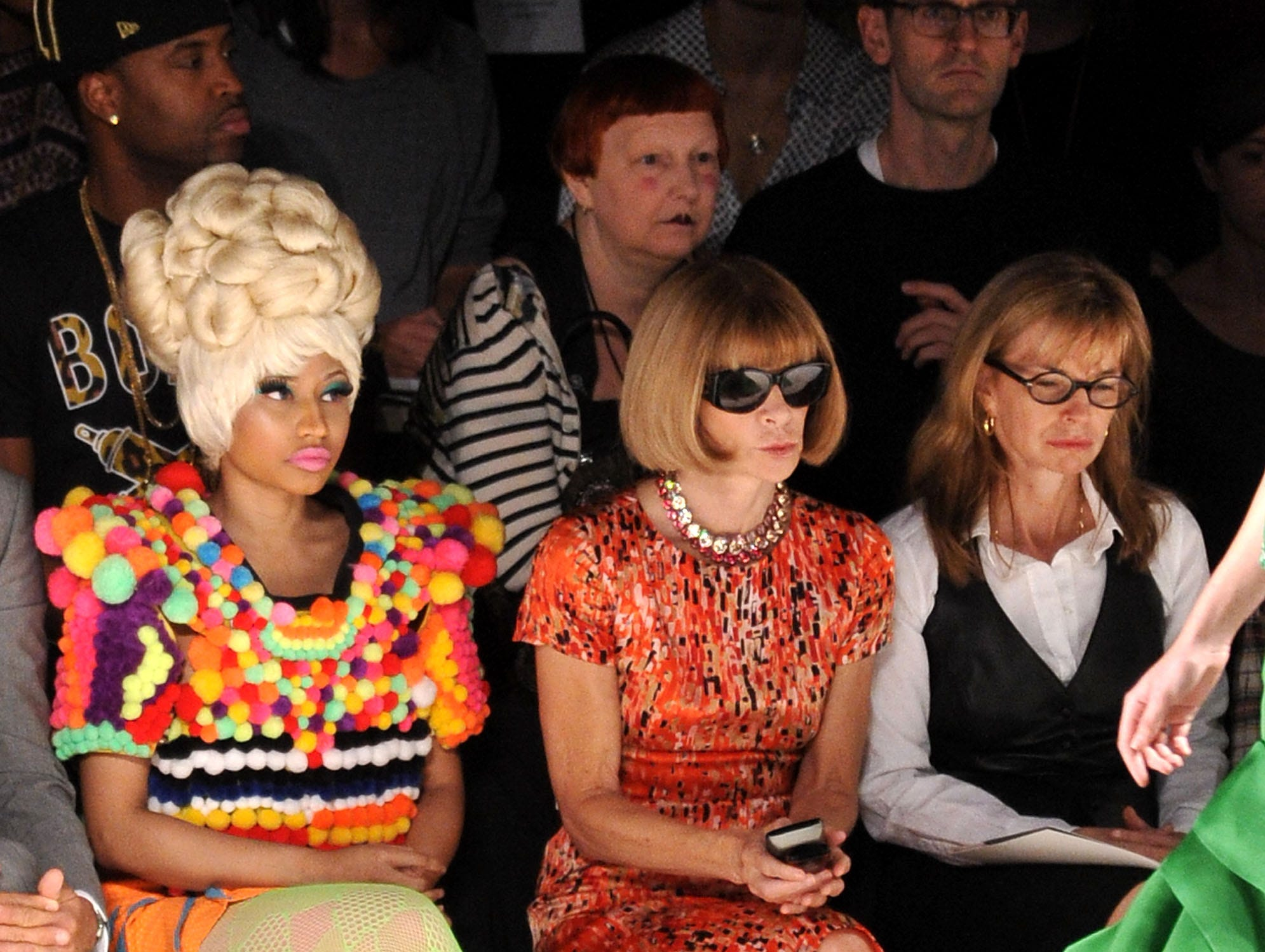 ORG XMIT: 121011077 NEW YORK, NY - SEPTEMBER 12:  Rapper Nicki Minaj (L) and Editor-in-chief of American Vogue, Anna Wintour attend the Carolina Herrera Spring 2012 fashion show during Mercedes-Benz Fashion Week at The Theater at Lincoln Center on September 12, 2011 in New York City.  (Photo by Mike Coppola/Getty Images  for Mercedes-Benz Fashion Week) ORIG FILE ID: 124740349