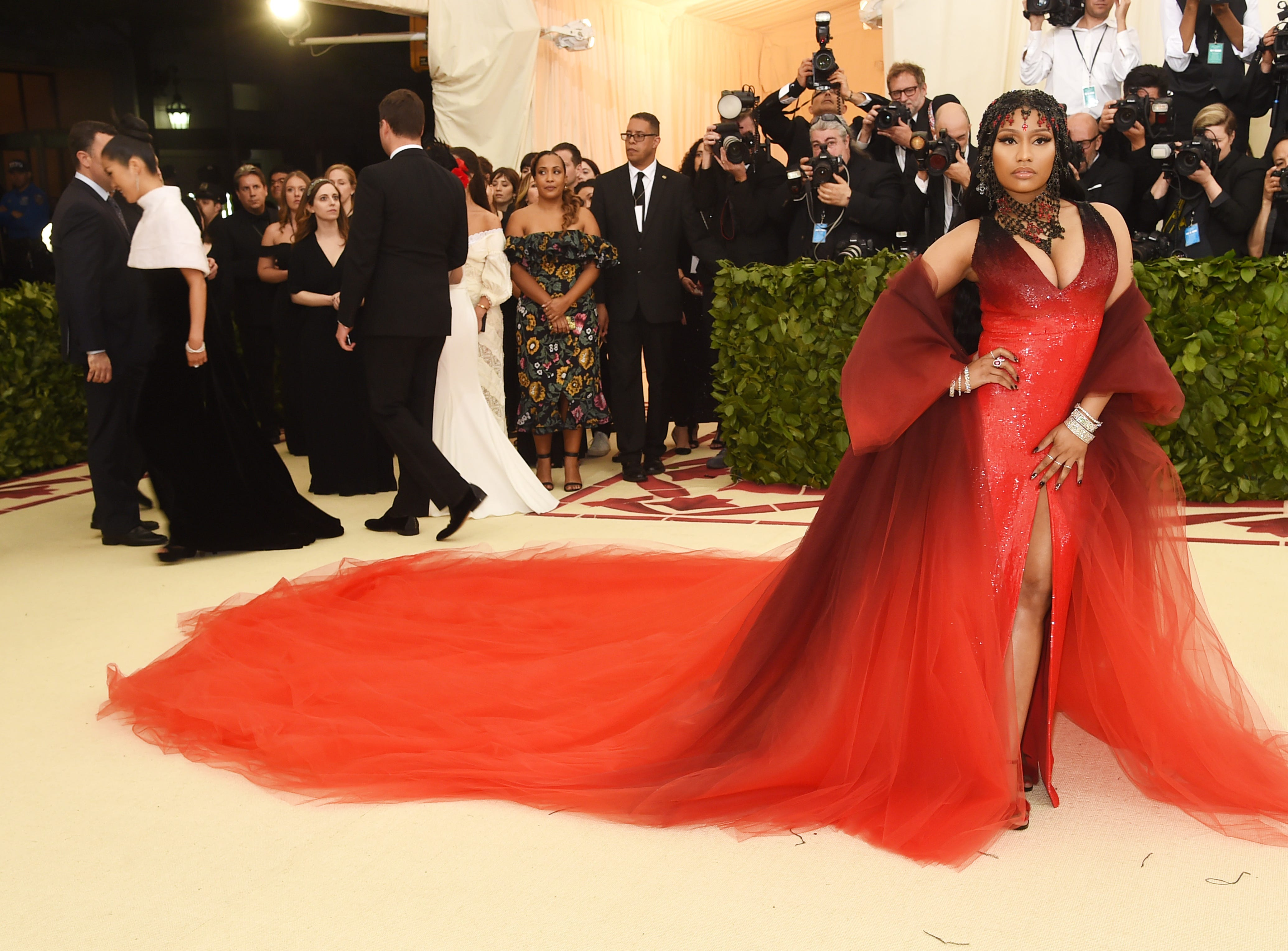 NEW YORK, NY - MAY 07:  Nicki Minaj attends the Heavenly Bodies: Fashion & The Catholic Imagination Costume Institute Gala at The Metropolitan Museum of Art on May 7, 2018 in New York City.  (Photo by Jamie McCarthy/Getty Images) ORG XMIT: 775160910 ORIG FILE ID: 955774008