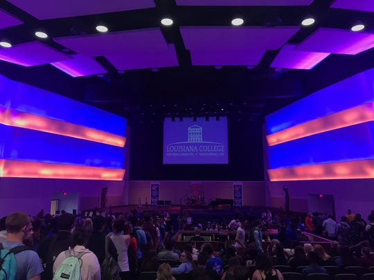Students attend chapel service in Louisiana College's newly-renovated Guinn Auditorium. The $6.5 million project was about 95 percent wrapped up Thursday, officials said.
