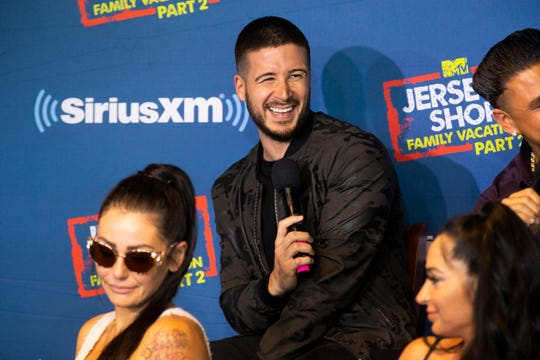 Vinny Guadagnino laughs as other cast members answer questions. Cast members of MTV's Jersey Shore Family Vacation are interviewed by SiriusXM host Jenny McCarthy at Jenkinson's on the eve of the Season 2 debut.