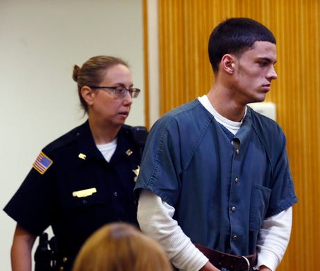 19-year-old John Curtin, charged in murder of 20-year-old Evan Smutz in Keyport on August 9 during his pre-trial detention hearing in Monmouth County Superior Court.  August 22, 2018, Freehold, NJ