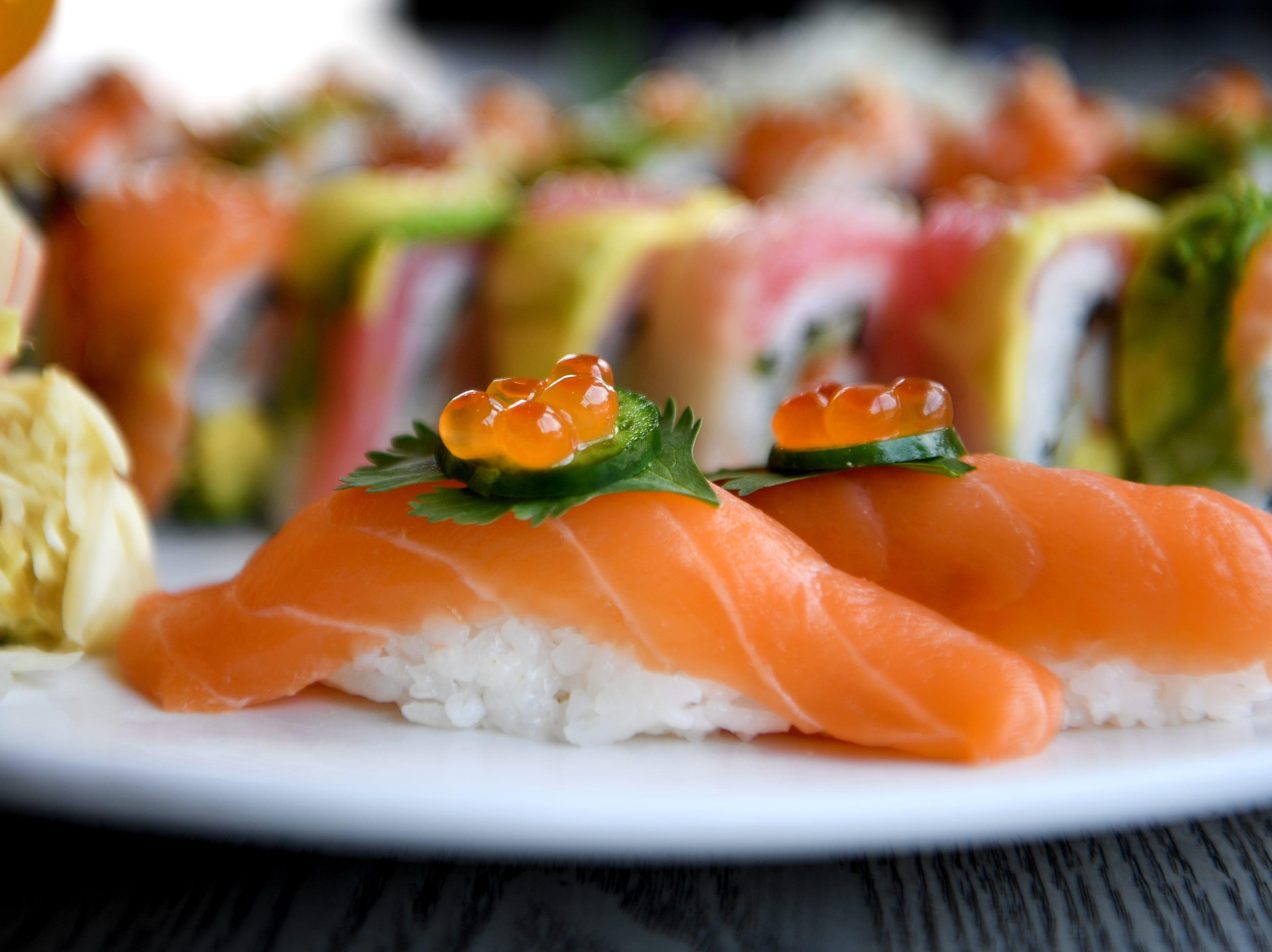 The Sake tori sushi at Takosushi features fresh salmon and is served a la carte.