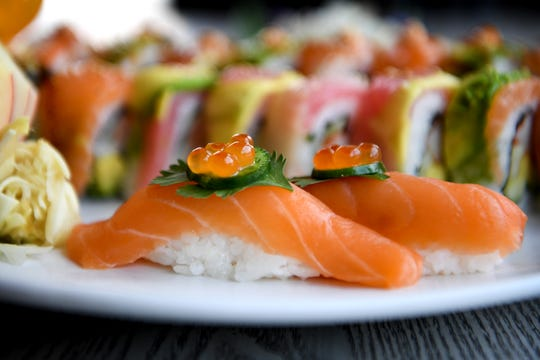 The Sake tori sushi at Takosushi features fresh salmon and is served a la carte.