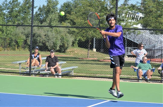 Lakeview's Jai Banerji plays in No. 1 singles during the 2018 All-City Tennis Tournament at Harper Creek on Thursday