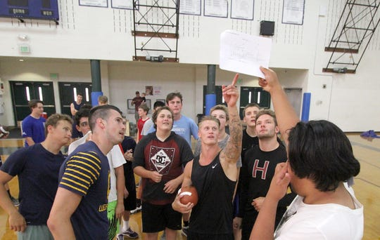 Bainbridge assistant coach Cody Blackmore explains a play during a practice that was held inside the gym because of smoky conditions outside.