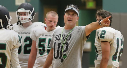 Klahowya football coach Dan Ericson directs traffic during a recent practice.