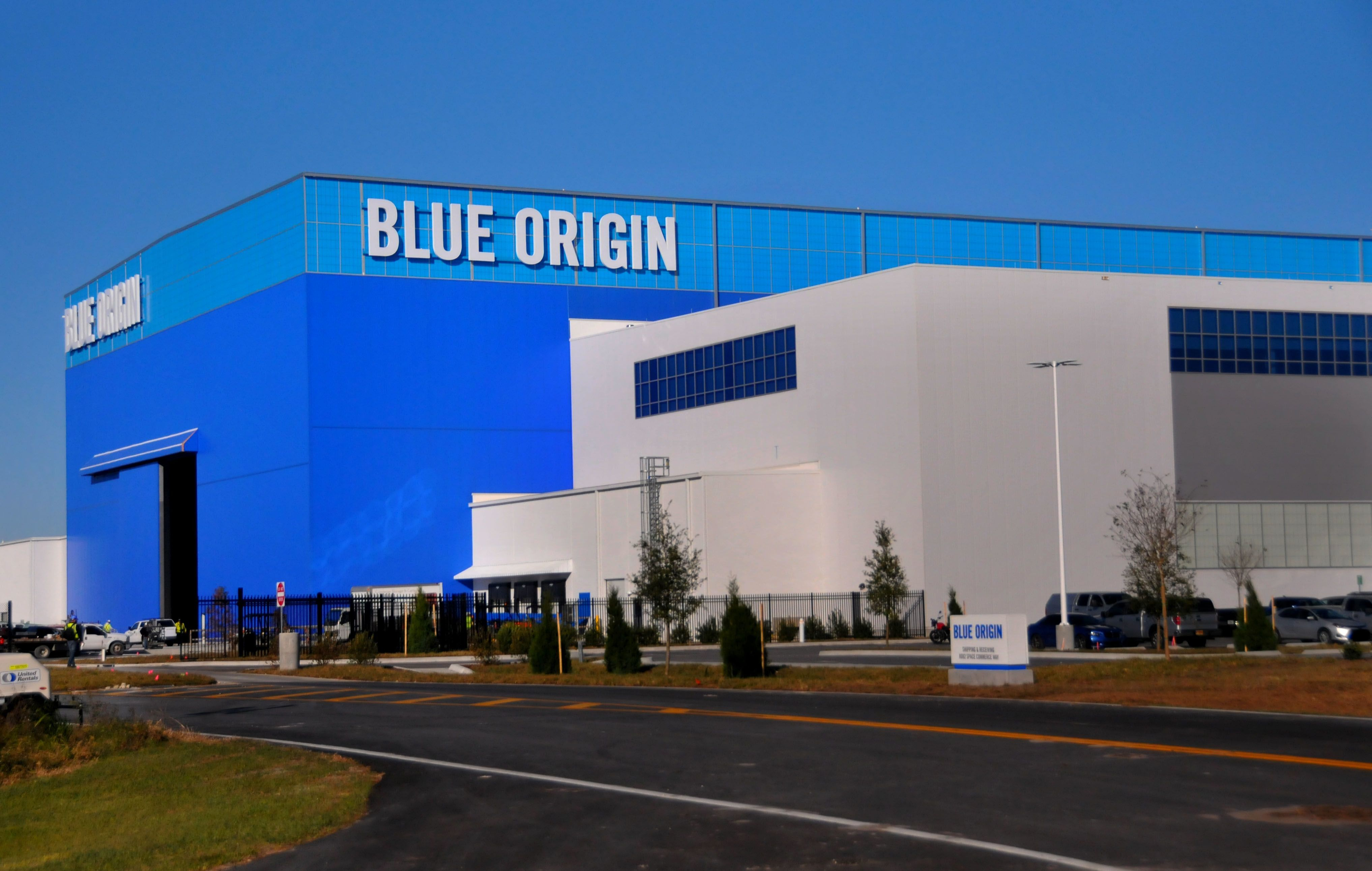 Blue Origin's New Glenn rocket factory at Kennedy Space Center's Exploration Park.