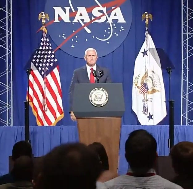 Pence promises moon in Johnson Space Center speech &quot;Pence promises moon in JSCspeech </a></h6> <p>                       Aug. 23, 2018, 17:15 </p> </li> </ul> </div> </div> </section> <section id=