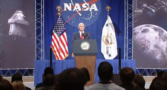 On Thursday at NASA's Johnson Space Center in Houston, Vice President Mike Pence delivered a speech about the importance of human space exploration, promising American astronauts would return to the moon.