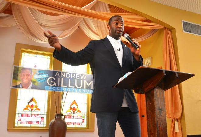 Andrew Gillum, a Democratic candidate for governor, was campaigning in Cocoa on Thursday. After touring the Emma Jewell Charter School, he packed the R.E.A.L. Church on Blake Avenue. giving a stump speech to about 150 supporters.
