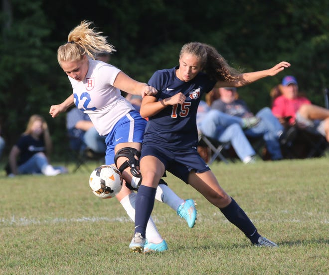 Galion's Adriana Zeger keeps the ball away from a Highland player during a home game.